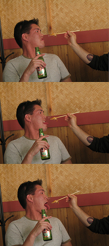 Chinese drinking beer