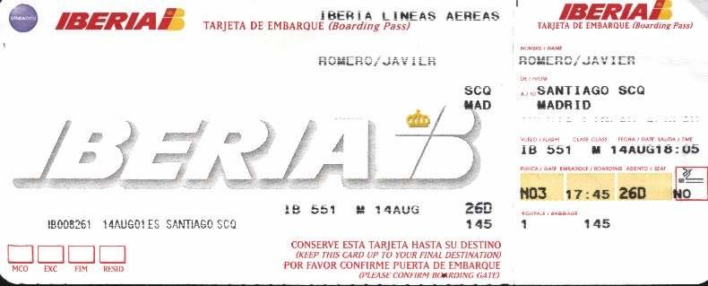 tarjeta embarque avión