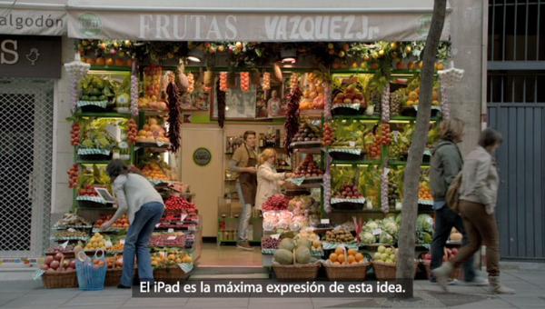 fruteria madrileña en el anuncio del nuevo ipad