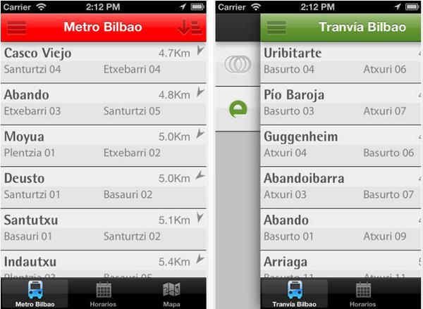 aplicacion iphone para el metro y tranvia de bilbao