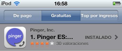 pinger aplicacion llamadas gratis
